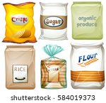 different types of food in bags ... | Shutterstock .eps vector #584019373