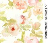seamless summer pattern with... | Shutterstock . vector #584035177
