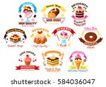 cakes  desserts and sweets... | Shutterstock .eps vector #584036047