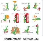 cartoon dragon prepositions of... | Shutterstock .eps vector #584036233