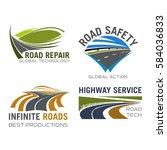 road  highway or motorway lane...   Shutterstock .eps vector #584036833