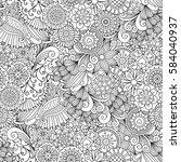 sketchy doodles decorative... | Shutterstock .eps vector #584040937