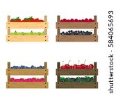 vector crates with fresh fruits ... | Shutterstock .eps vector #584065693