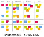 whiteboard with post it notes...   Shutterstock .eps vector #584071237