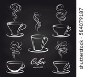 coffee cups with smoke on... | Shutterstock .eps vector #584079187