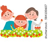 strawberry picking | Shutterstock .eps vector #584100607