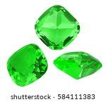 three green emeralds isolated...   Shutterstock . vector #584111383