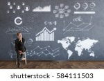 thoughtful young businessman... | Shutterstock . vector #584111503