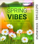 spring vibes party poster... | Shutterstock .eps vector #584112193