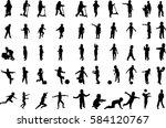 50 boys silhouettes  | Shutterstock .eps vector #584120767