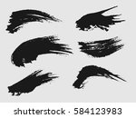 set of black paint  ink brush... | Shutterstock .eps vector #584123983