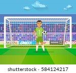 soccer goalkeeper keeping goal... | Shutterstock .eps vector #584124217