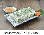 banh uot cuon hue   hue steamed ... | Shutterstock . vector #584124853