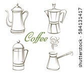 coffee pot and sign coffee... | Shutterstock .eps vector #584131417