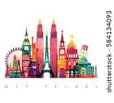 world skyline. travel and... | Shutterstock .eps vector #584134093