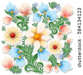 abstract spring floral ornament ... | Shutterstock .eps vector #584134123