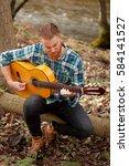 hipster man with red beard... | Shutterstock . vector #584141527