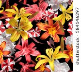 blossom floral pattern lilies... | Shutterstock . vector #584146297