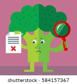 broccoli with magnifier glass... | Shutterstock .eps vector #584157367