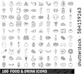 100 food and drink icons set in ... | Shutterstock .eps vector #584159263
