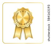 award ribbon gold icon. blank... | Shutterstock .eps vector #584163193