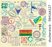 vector document stamp set.... | Shutterstock .eps vector #584166127