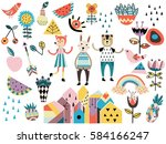 set of cute scandinavian style... | Shutterstock .eps vector #584166247
