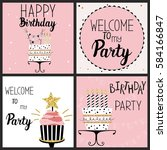 happy birthday party cards set... | Shutterstock .eps vector #584166847
