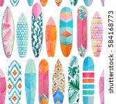 watercolor surfboards pattern.... | Shutterstock . vector #584168773