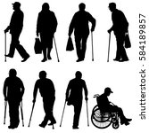 set ilhouette of disabled... | Shutterstock .eps vector #584189857