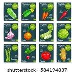 vegetables tags and veggies... | Shutterstock .eps vector #584194837