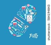 medical poster of vector... | Shutterstock .eps vector #584194843