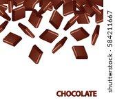 fallen black chocolate bars... | Shutterstock .eps vector #584211667