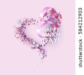 women day background with frame ... | Shutterstock .eps vector #584212903