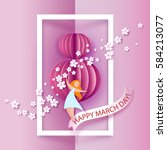 card for 8 march women day.... | Shutterstock .eps vector #584213077
