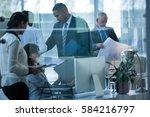 businesspeople working together ... | Shutterstock . vector #584216797