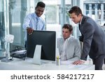 businesspeople discussing at...   Shutterstock . vector #584217217