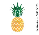 pineapple with leaf icon.... | Shutterstock . vector #584224963
