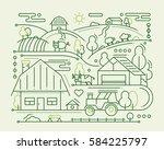 farm   modern simple line flat... | Shutterstock . vector #584225797