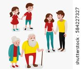 couple in three ages. vector... | Shutterstock .eps vector #584227327