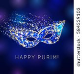 happy purim celebrating card.... | Shutterstock .eps vector #584229103