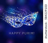 happy purim celebrating card.... | Shutterstock .eps vector #584229103