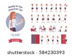Ready-to-use character set. Female young clerk in formal wear. Different poses and emotions, running, standing, sitting, walking, happy, angry. Full length, front, rear view against white background | Shutterstock vector #584230393