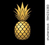 pineapple gold icon. tropical... | Shutterstock . vector #584231383