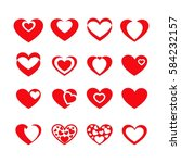 red hearts set | Shutterstock .eps vector #584232157