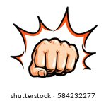 hand  fist punching or hitting. ... | Shutterstock .eps vector #584232277