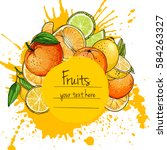 citrus. set of fruit. fresh... | Shutterstock .eps vector #584263327