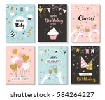 Happy birthday greeting card and party invitation templates, vector illustration, hand drawn style | Shutterstock vector #584264227