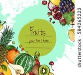 fresh food. watermelon ... | Shutterstock .eps vector #584265223