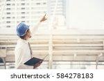 handsome engineer work on... | Shutterstock . vector #584278183